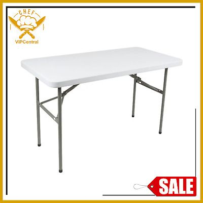 Ad Ebay Folding Table 4ft Small Sturdy Heavy Duty Plastic Indoor