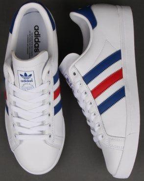 Congelar alcanzar dos  Adidas Coast Star Trainers White/Royal/Red | Adidas shoes mens, Adidas  originals fashion, Adidas
