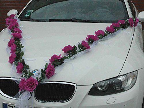 Organza Set mit Rosen f/ür das Hochzeitsauto