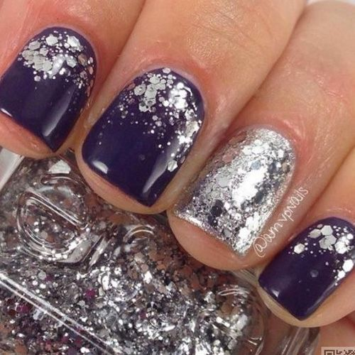 Best Winter Nails For 2018 45 Cute Winter Nail Designs Best Nail Art Nail Designs Glitter Navy And Silver Nails Glitter Nails