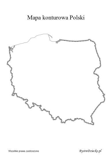 Mapa Konturowa Polski Do Wydrukowania Polska Pinterest