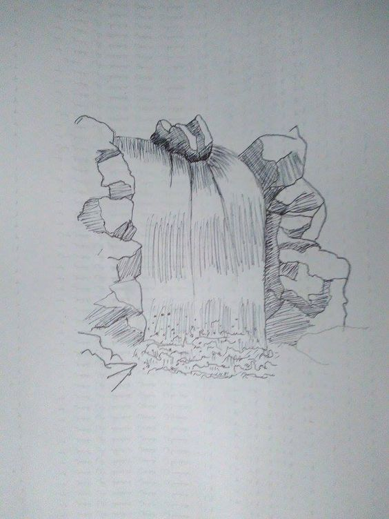 Cara Menggambar Air Terjun dengan Contoh dan Sketsanya
