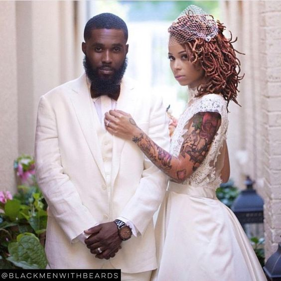 """LOVE THIS! @eclectic_vibez and her king! Email us your photos at blackmenwithbeards@yahoo.com to be considered for a feature!  #blackmenwithbeards…"""