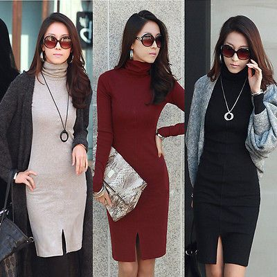 Office Ladies Dress Slim Fit Long Sleeve Cowl Neck Women Knit Sweater Dresses(China (Mainland))
