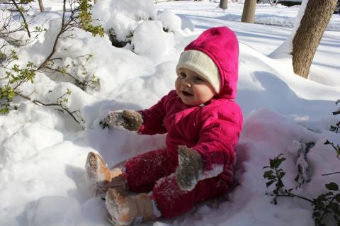 Baby Lauren enjoyed her first snowfall in Ramsey, New Jersey.