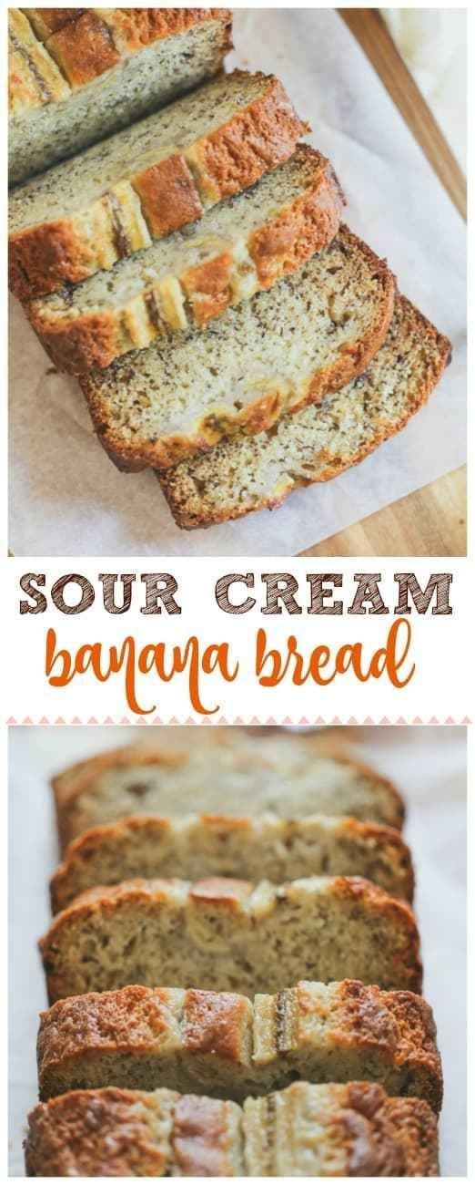 Sour Cream Banana Bread This Moist Slightly Tangy Sour Cream Banana Bread Is Super Deli Sour Cream Banana Bread Sour Cream Recipes Banana Bread Recipe Moist