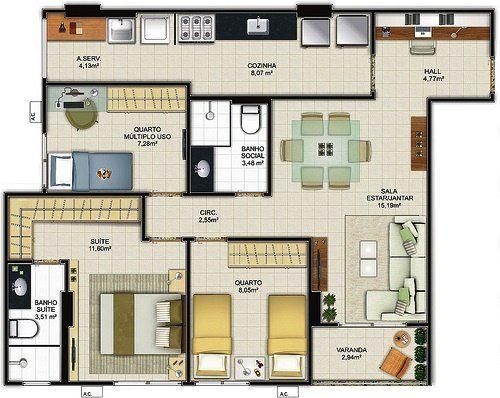 Plantas de casas com 3 quartos | Top Diário