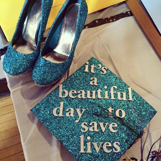 My Grey's Anatomy themed nursing graduation cap and matching shoes I made!