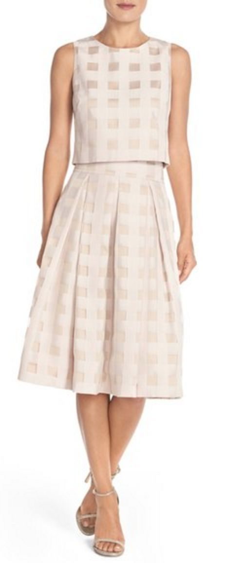 Satin Gingham Check Two-Piece Dress