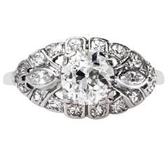 Glittering Art Deco EGL Certified Diamond platinum Engagement Ring