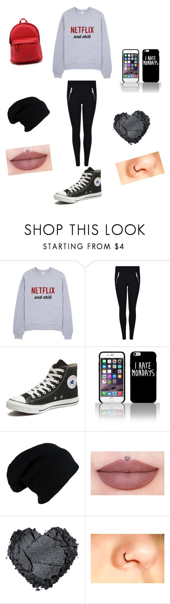 """""""Monday/ Netflix"""" by maria-779 on Polyvore featuring Converse"""