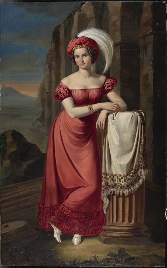 Pietro Luchini PORTRAIT OF A LADY IN RED, FULL LENGTH, LEANING ON A COLUMN WITH A LANDSCAPE BEYOND. 81 3/4 x 51 in.