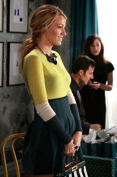 "Season 6, Episode 7: ""Save the Last Chance"" Serena van der Woodsen (Blake Lively) wears a Joseph sweater, T by Alexander Wang skirt, and a Fendi handbag.:"
