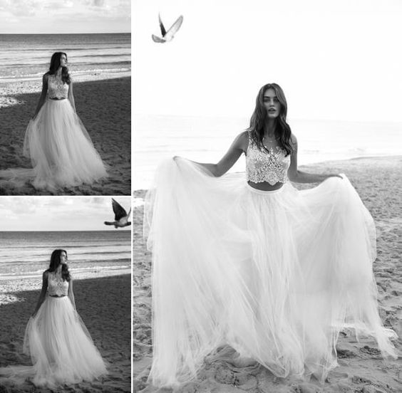 White Bohemian Lace Wedding Dresses 2016 Two Pieces A Line Beach Wedding Gowns Sheer Neck Tulle Long Bridal Gowns Vestidos De Novia Online with $192.15/Piece on Angelia0223's Store | DHgate.com