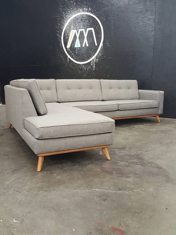 Modern sectional chaise sofa and mid century modern on for Contemporary sectional sofa canada
