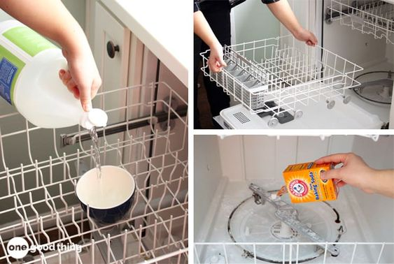 How to Deep Clean a Dishwasher In 3 Easy Steps · Jillee with Baking soda and Vinegar