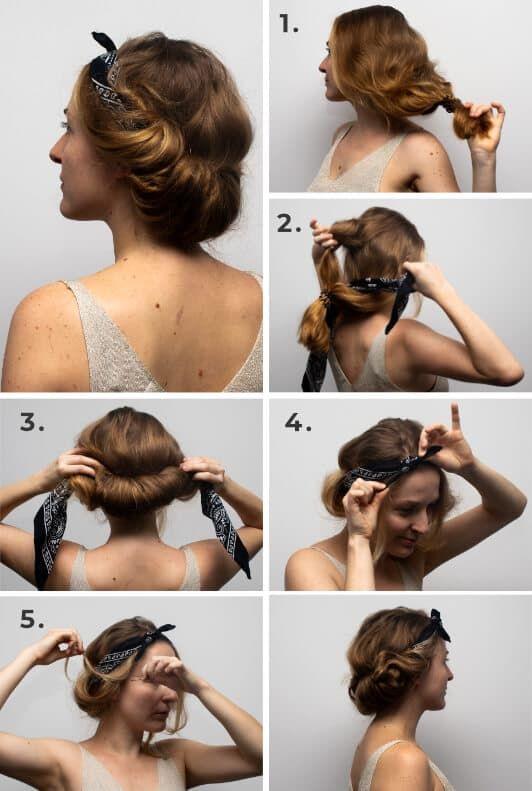 Haartucher Frisuren Schritt Fur Schritt Ladenzeile In 2020 Mittellange Haare Frisuren Einfach Haarband Frisur Haare