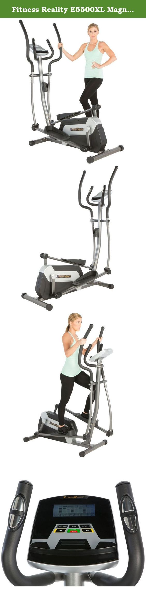 """Fitness Reality E5500XL Magnetic Elliptical Trainer with Comfortable 18"""" Stride. FITNESS REALITY. Real People. Real Results! The Fitness Reality E5500XL Elliptical gives you all the workout programs you need, to track your results. The smooth 18"""" stride, 24 levels of resistance and the smart target control computer will give you any exercise challenge you want. Heart pulse sensors will target your heart rate zone and the E5500 is designed to be much more compact than other elliptical..."""