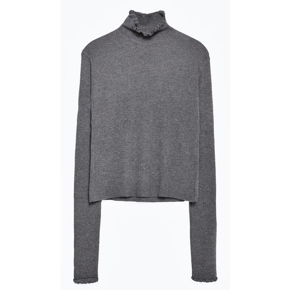 Zara Sweater With Frill Neckline (200 PLN) ❤ liked on Polyvore featuring tops, sweaters, anthracite grey, shell tops, gray top, grey sweater, gray sweater and zara top