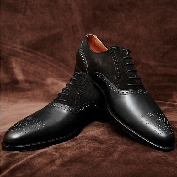 Handmade Men Black Formal Shoes, Men