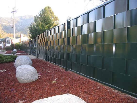 Custom Metal Privacy Fencing Woven Panels Outdoor Rooms