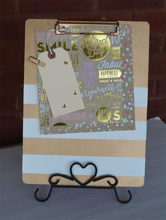 Paint a clipboard with gold spray paint...add stripes.  www.reservationsforfive.com MAMBI paper, Hello Beautiful