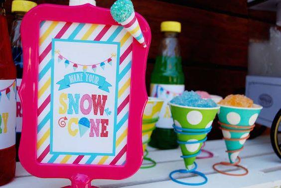 Snow Cone themed birthday party via Kara's Party Ideas KarasPartyIdeas.com Cake, printables, cupcakes, tutorial, etc! #snowcones #snowconeparty #summerparty (28)