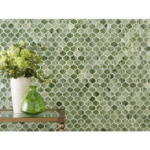 Emerald City Arabesque Glass Mosaic Green Mosaic Tiles Mosaic Glass Green Tile Backsplash