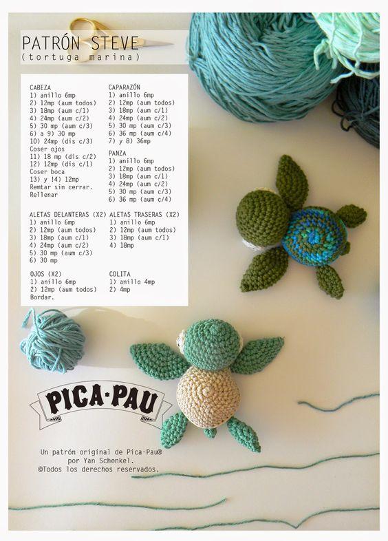 "Tortuga Marina Steve ""Buscando a Nemo"" - Patrón Gratis en Español aquí: http://picapauyan.blogspot.com.ar/2014/08/steve-zissou.html"
