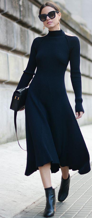 Black, Celine Midi Dress / Street Style.: