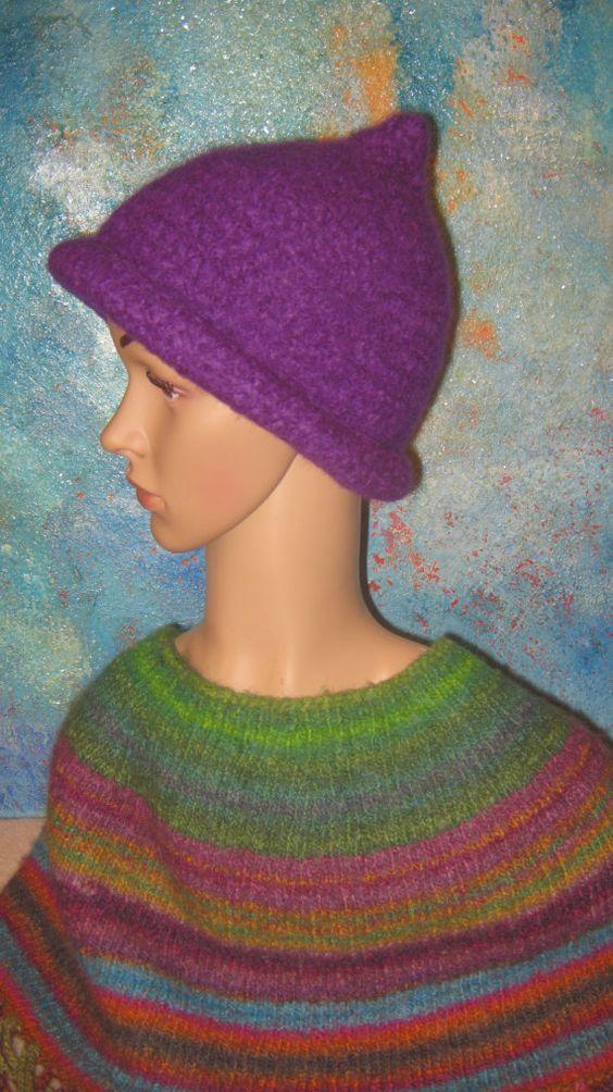 Gefilzte Mütze mit KrempeSchurwolle lila von Elbengard auf Etsy