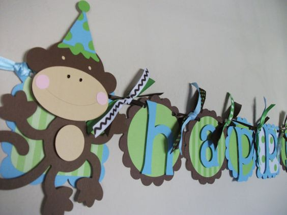 Monkey Birthday Party Happy Birthday Banner by sweetheartpartyshop