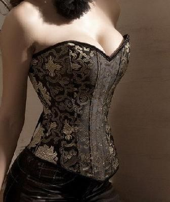 ~Sexy Brown and Gold Brocade Steel Boned Corset~