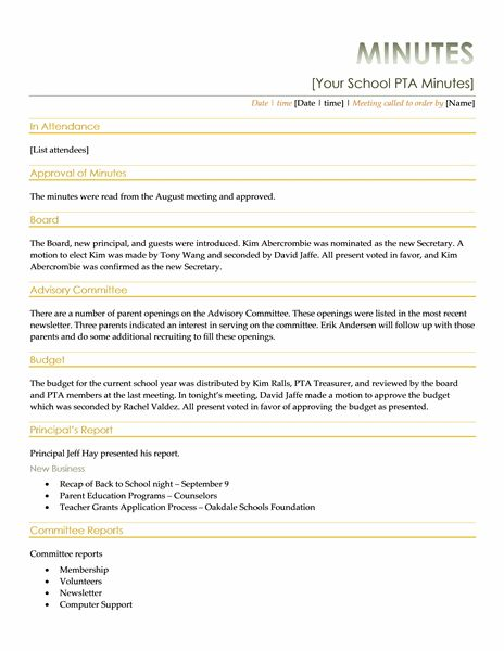 Pta Meeting Minutes - Templates | Pta | Pinterest | Templates And
