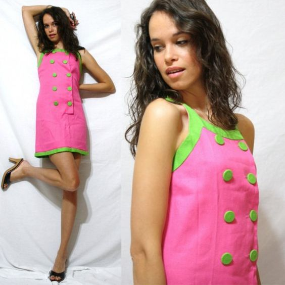 Vintage dress play short sleeve green pink double by indai on Etsy
