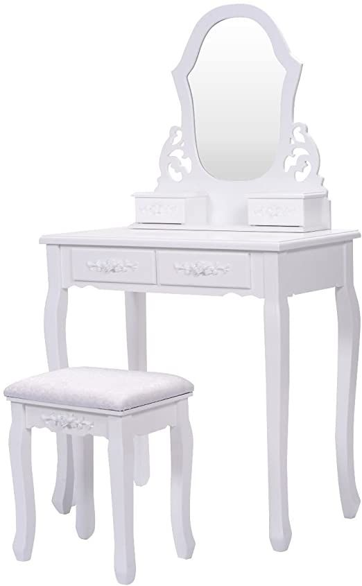 Vanity Jewelry Wooden Makeup Dressing Table Set With Stool Mirror Amp 4 Drawer White In 2020 Dressing Table Set Makeup Dressing Table White Vanity Set