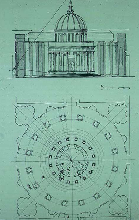 Elevation For Circular Plan : Reconsctruction of the elevation and plan bramante s