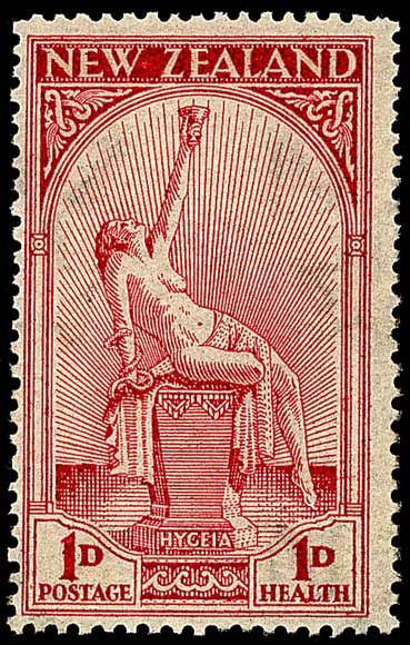 New Zealand, 1d/1d [semi-postal stamp*, sc B5], 1932. Stamp depicts Hygeia, goddess of health. *A total of 2d was paid for the stamp; 1d for postage and 1d that raised funds for the national health fund. 1d = 1 penny