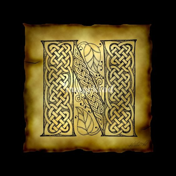 Celtic letter n quot by kristen fox celtic and foxes