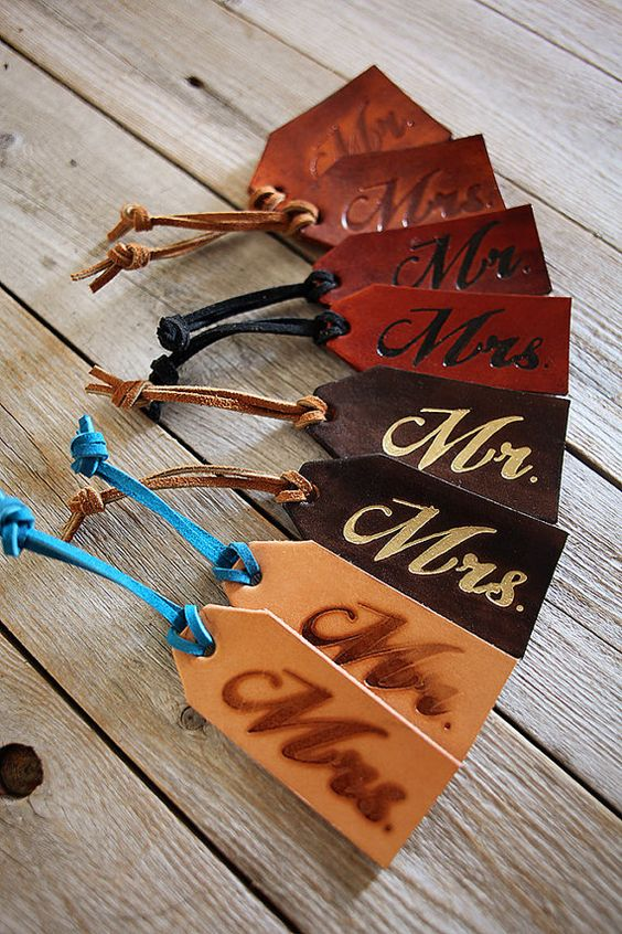 Mr and Mrs Luggage Tags  SET of TWO Genuine Leather by Exsect