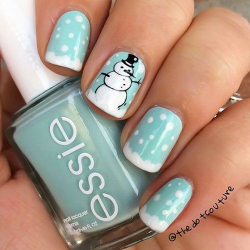 Feature a cute little snowman on your Christmas nails this year for a change!
