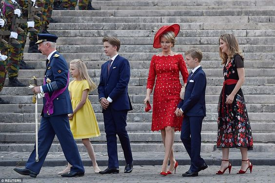 Chic: The Belgian Royal Family were naturally keen to celebrate in style as they attended ...