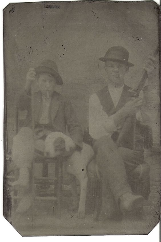 1/6 Plate Tintype 2 Boys Brothers Rifle Cigars in Mouth Our Gang Dog Pit Bull ?
