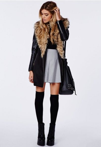 Images of Faux Fur Leather Jacket - Reikian