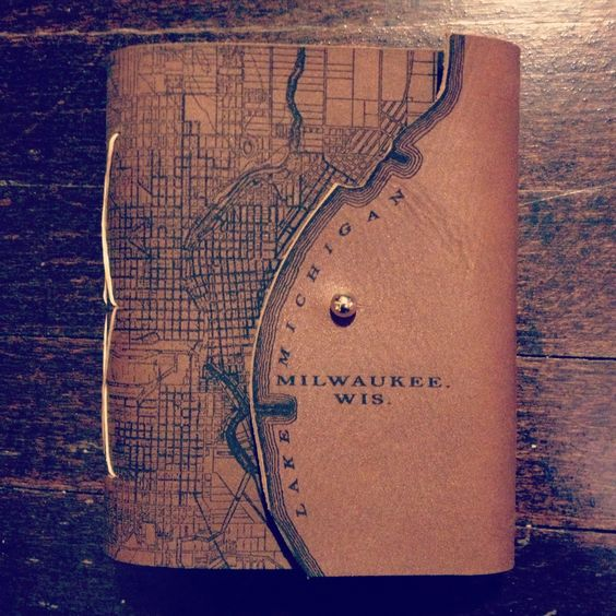 Milwaukee Map Book Laser Etched Leather Hand Bound With