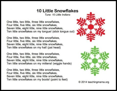 10 Little Snowflakes song that teacher math as well as literature ...