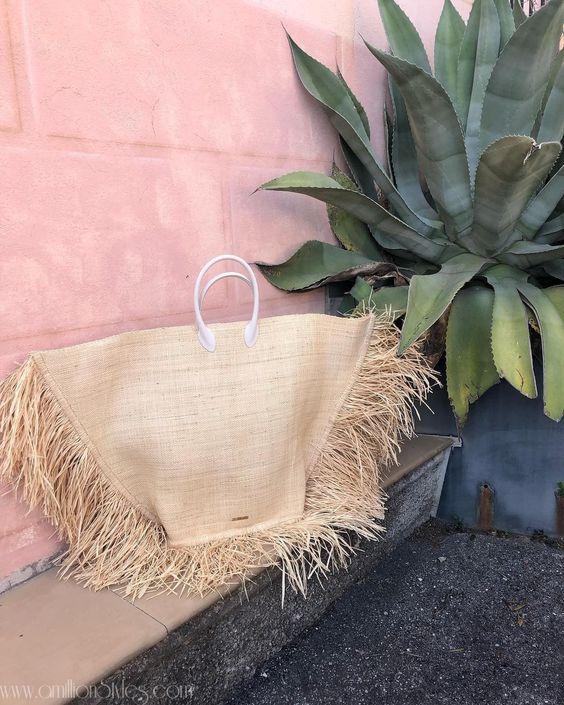 Borse di paglia - handbag con frange laterali decorative