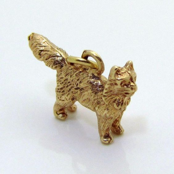 Vintage 14K Gold Solid 3D *Cat with Puffed Out Tail* Scared Cat Charm from charmalier on Ruby Lane