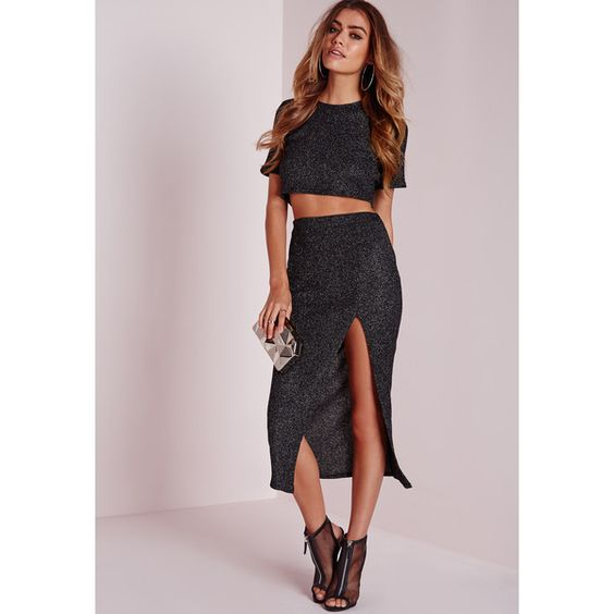 Missguided Knitted Front Split Glitter Midi Skirt ($31) ❤ liked ...