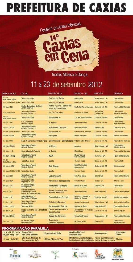 Confira e participe! PROGRAMAÇÃO COMPLETA - 14º CAXIAS EM CENA. De 11 a 23 de setembro de 2012.